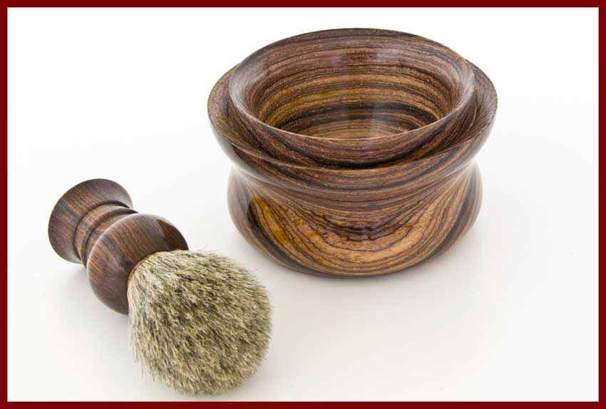 cocobolo shaving bowl and brush