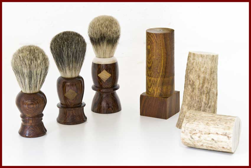 cocobolo shaving brushes with jatoba and big leaf maple inserets